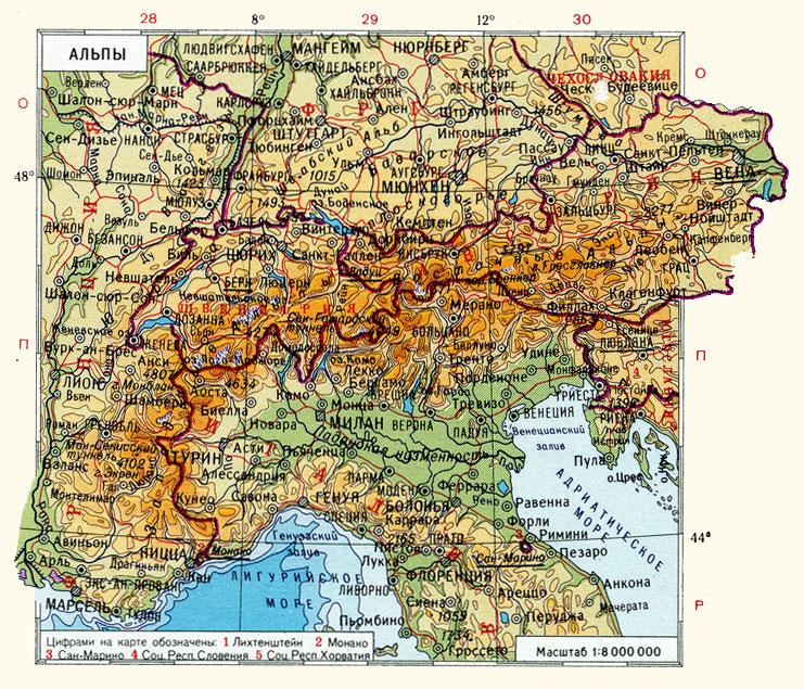 Альпы на карте Европы